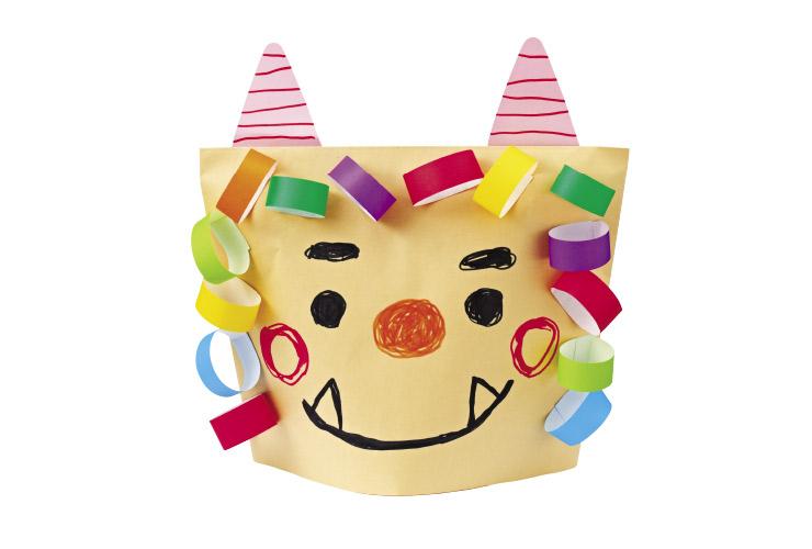 おにのお面「茶封筒の帽子」(3~4歳児)