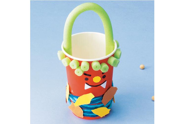 【3・4・5歳向け】紙コップ&ソフトポールの豆入れ