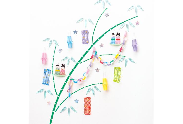 【たなばた】本物の笹がなくても作れる、壁に飾る笹
