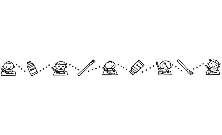 2月の乳児と絵の具の飾り罫線