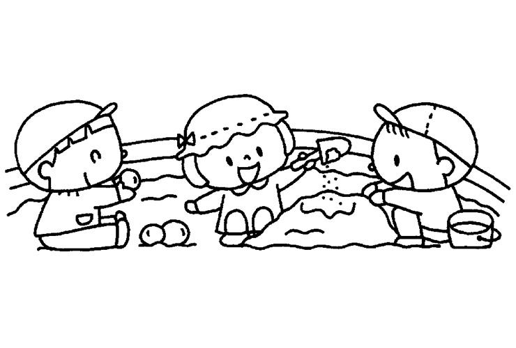 乳児の砂遊びのイラスト