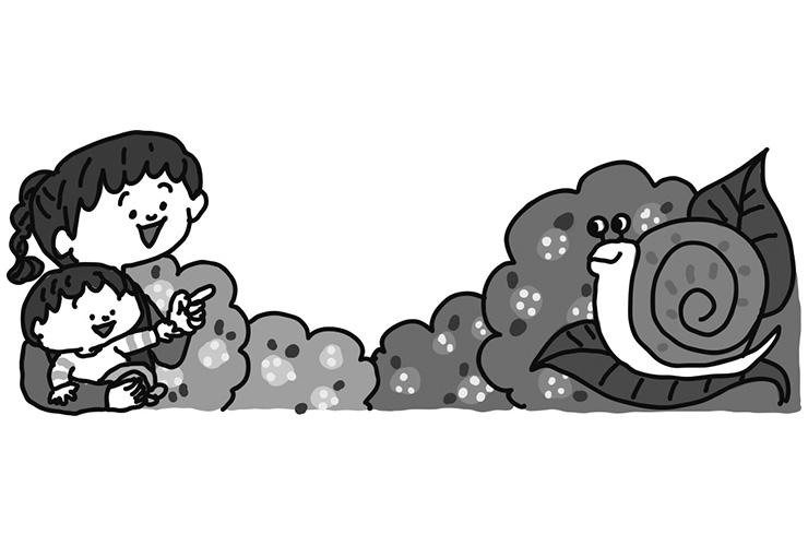 かたつむりと6月の乳児のイラスト