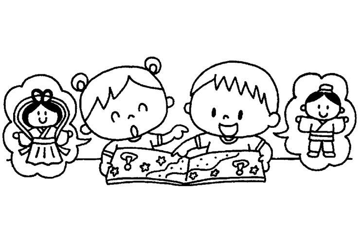 たなばたの絵本を読む園児のイラスト