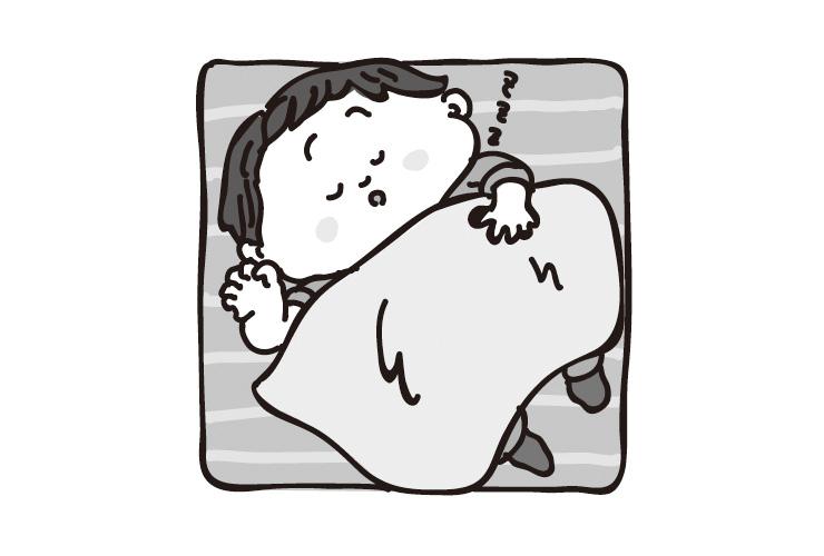 お昼寝をする乳児のイラスト