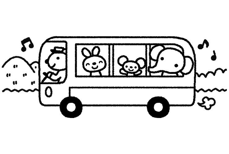 動物のバス遠足のイラスト
