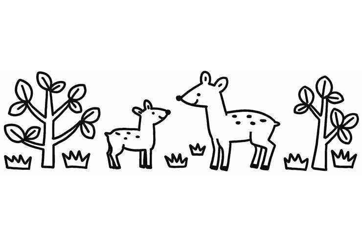 鹿の親子のイラスト