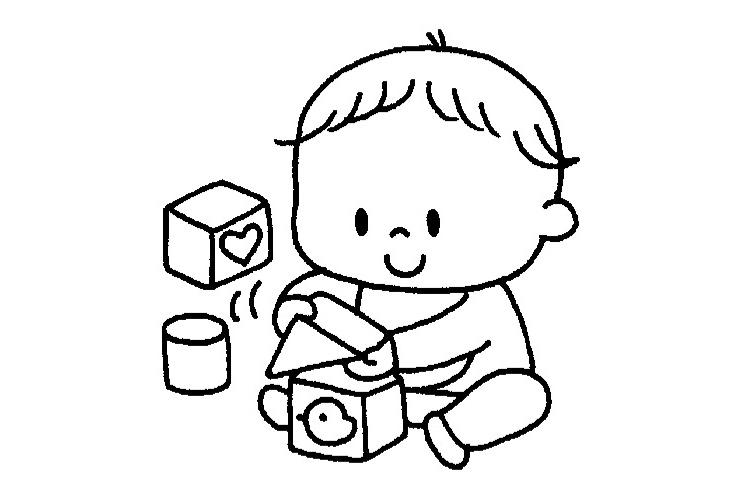 積み木あそびと10月の乳児のイラスト