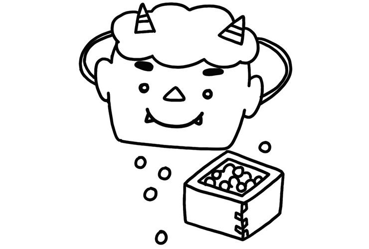 おにのお面と福豆のイラスト