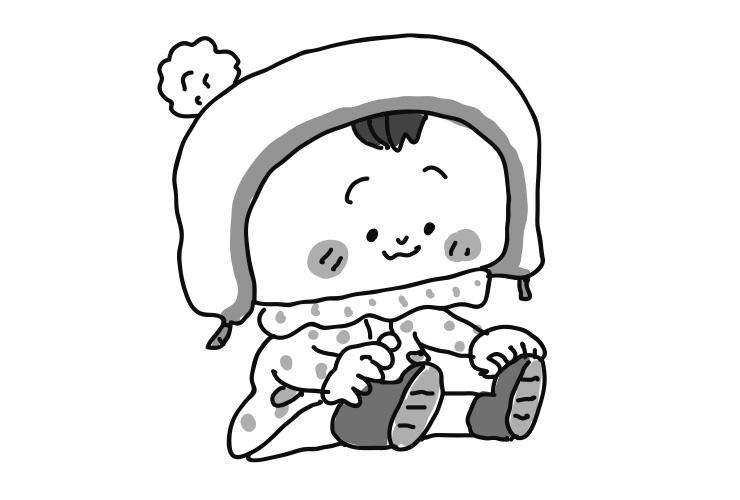 1月のお出かけファッションの乳児