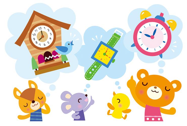 時の記念日といろいろな時計のイラスト
