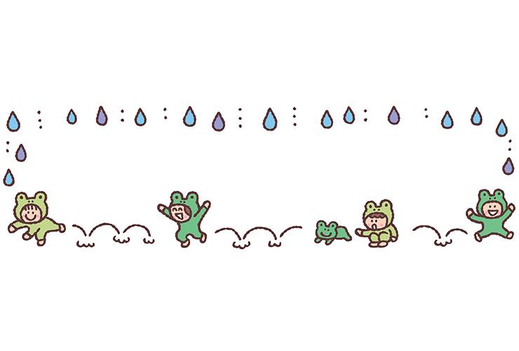 かえると雨の飾り枠
