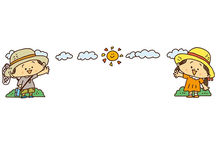 麦わら帽子の子どもたちのイラスト