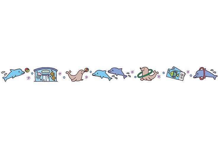 水族館の生き物の飾り罫線