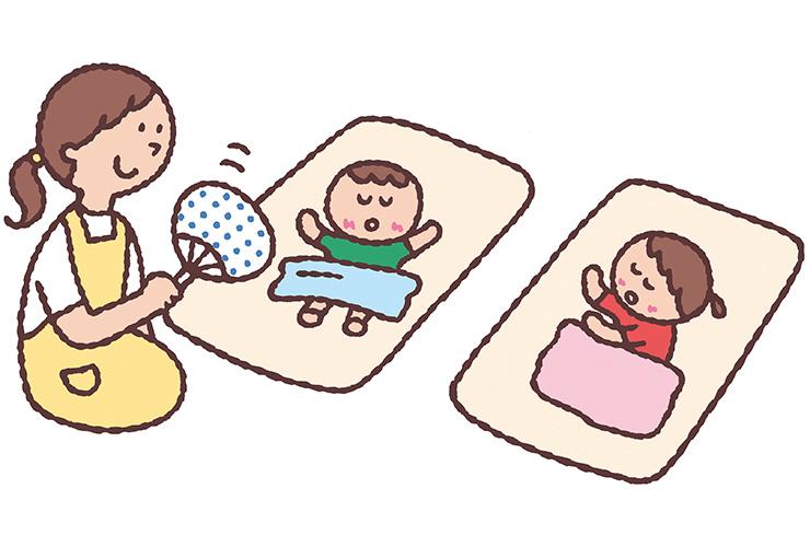 お昼寝をする7月の乳児のイラスト
