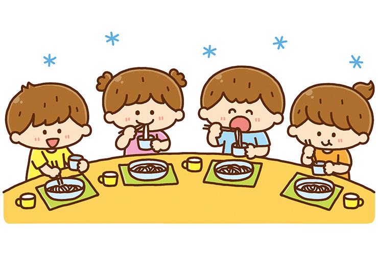 そうめんを食べる園児のイラスト