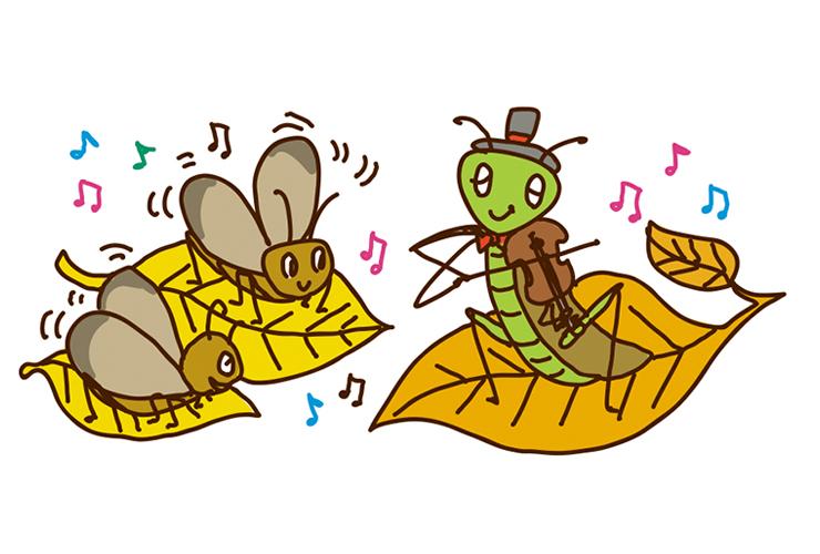 演奏する秋の虫のイラスト