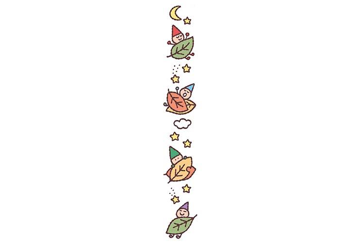 落ち葉と小人の飾り罫線